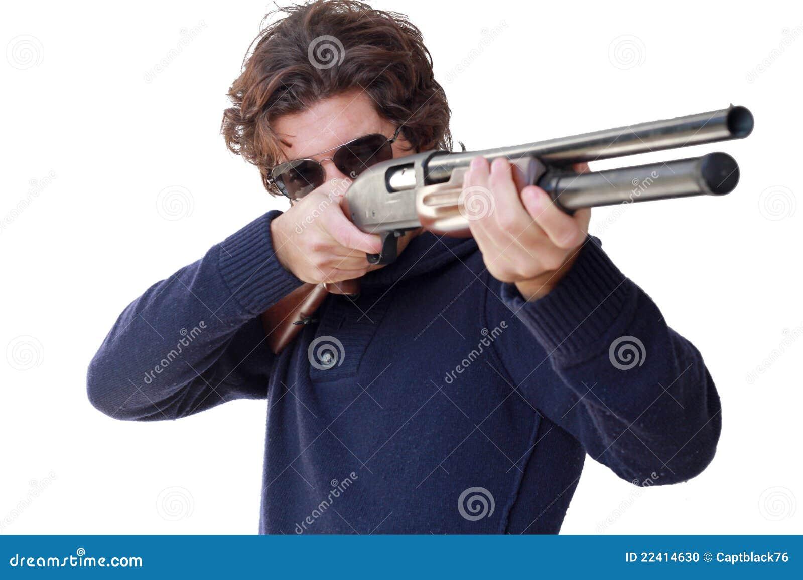 Aiming With Shotgun Isolated Stock Photo - Image: 22414630