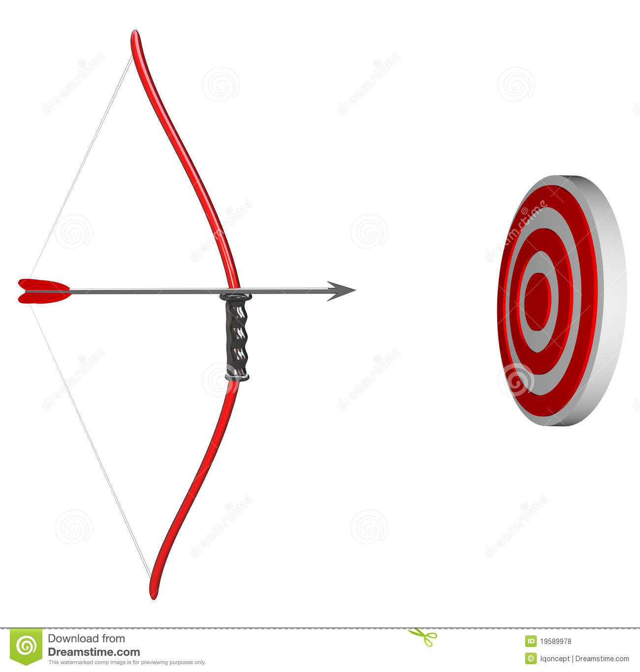 Bow and arrow is held aiming at a target bulls eye representing