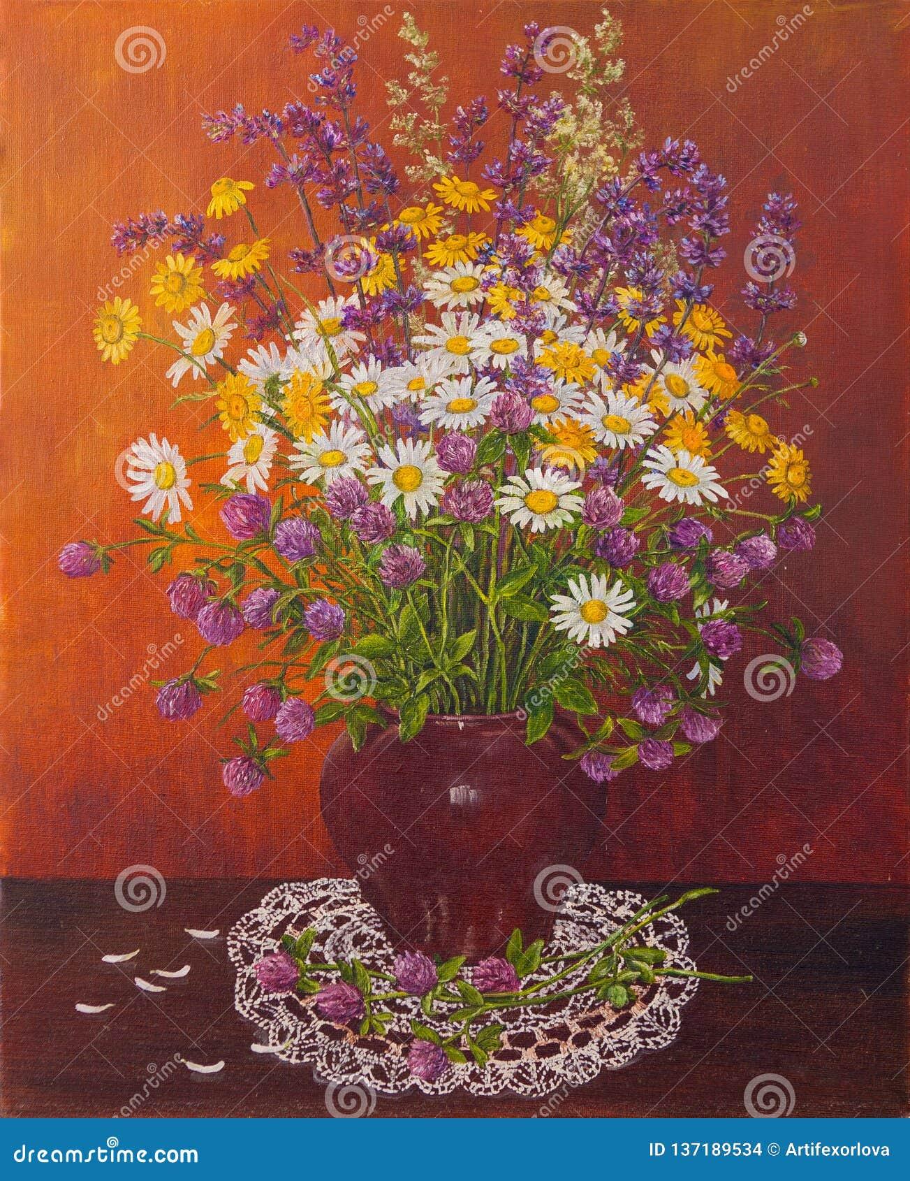 Ainda vida de um potenciômetro de argila de flores selvagens do ramalhete Pintura a óleo original Pintura do autor s