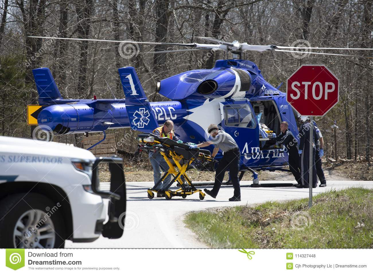 Air Ambulance Helicopter On The Ground Editorial Stock Photo
