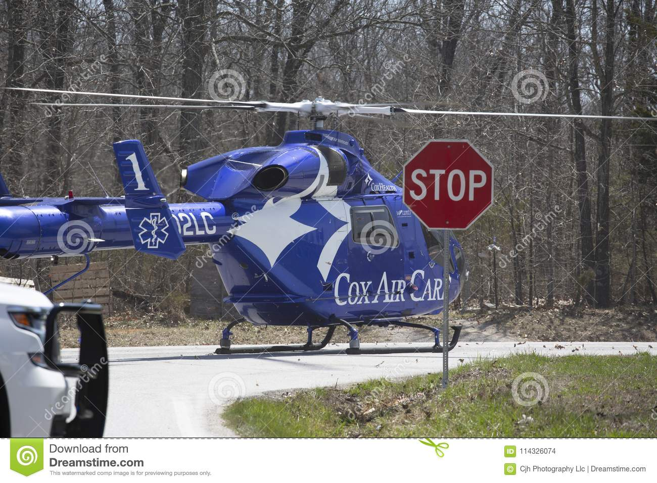 Air Ambulance Helicopter On The Ground Editorial Stock Image