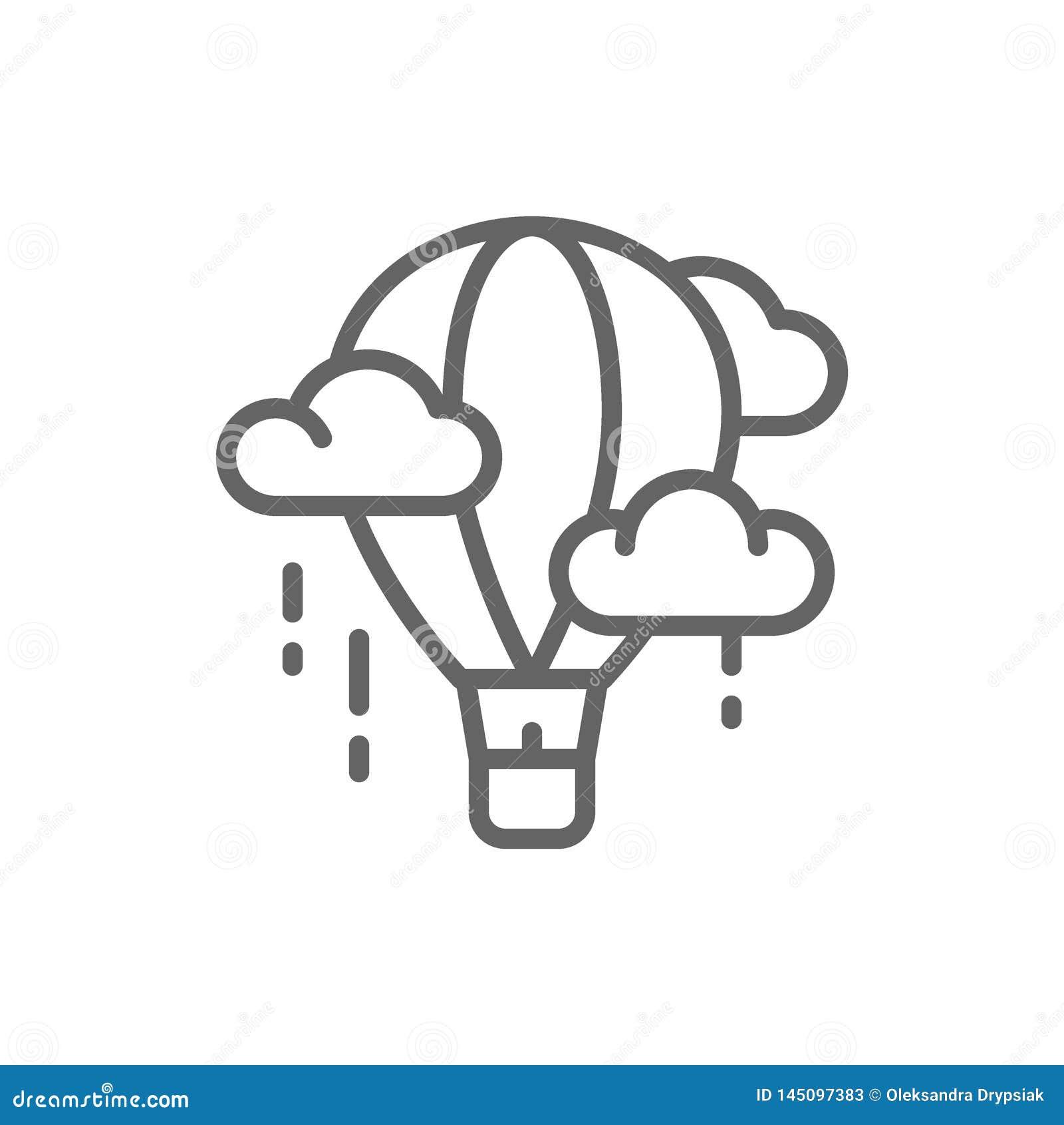 Vector air balloon, aerostat, dirigible line icon.