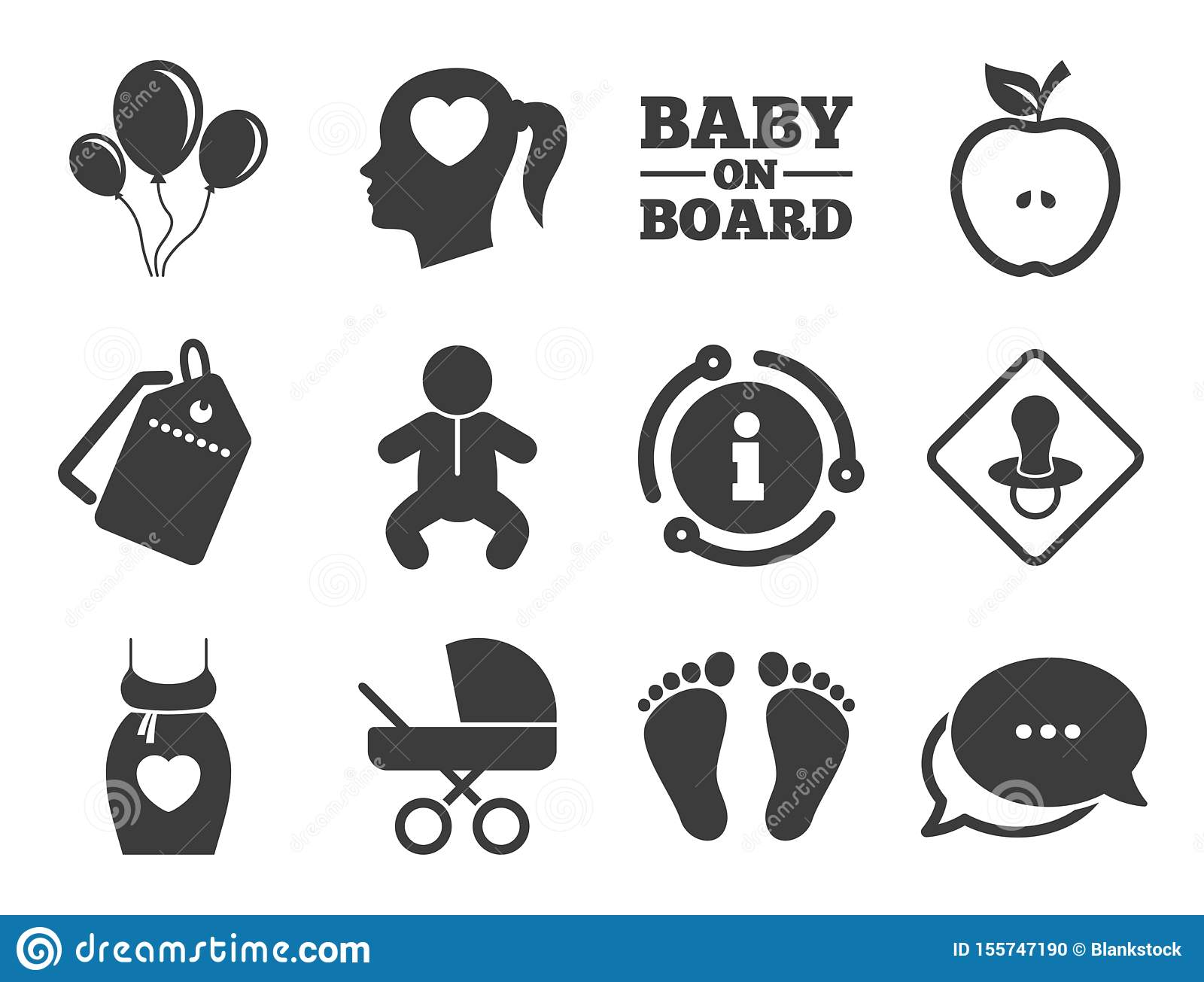 Pregnancy Maternity And Baby Care Icons Vector Stock Vector Illustration Of Info Classic 155747190