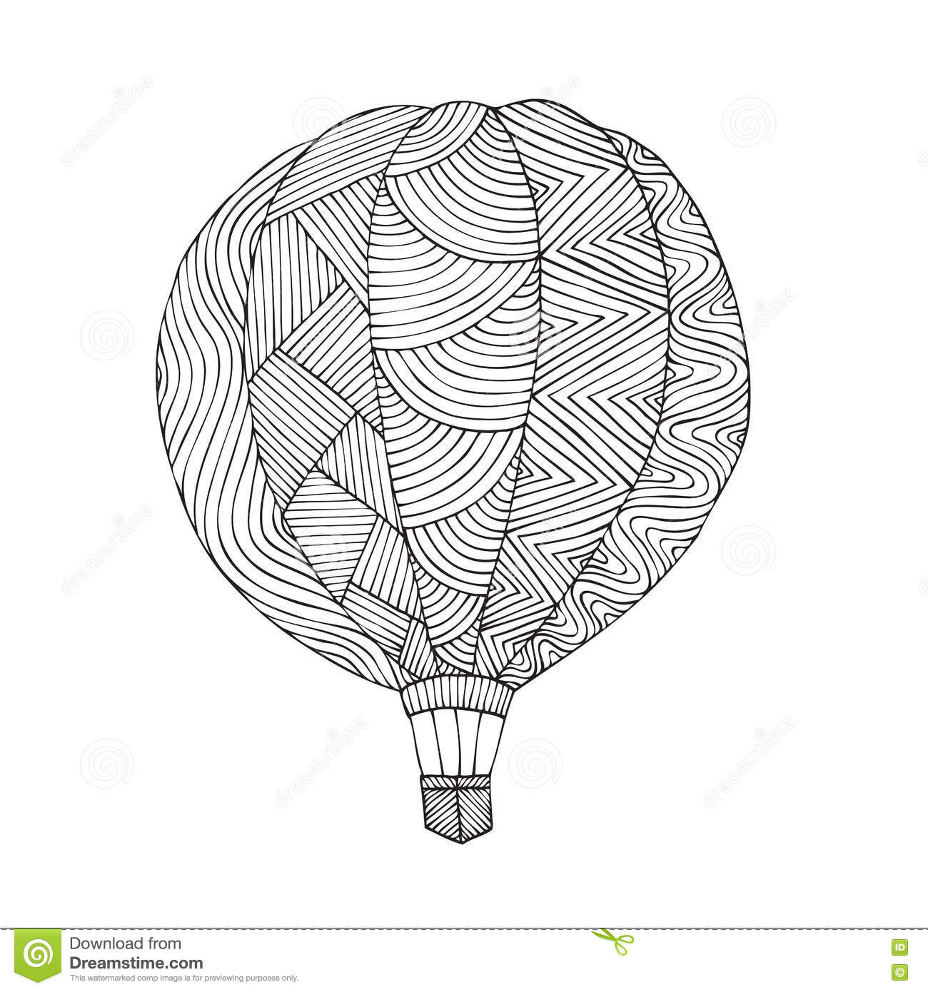 Download Air Balloon Coloring Book Page For Adult Stock Vector