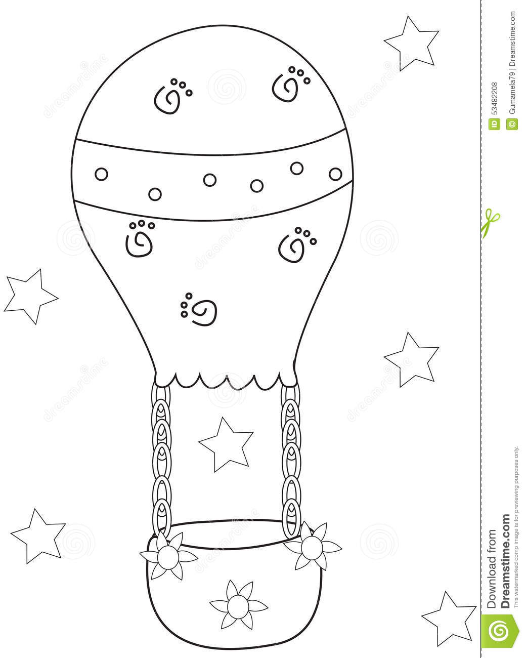 air balloon coloring page stock illustration image 53482208