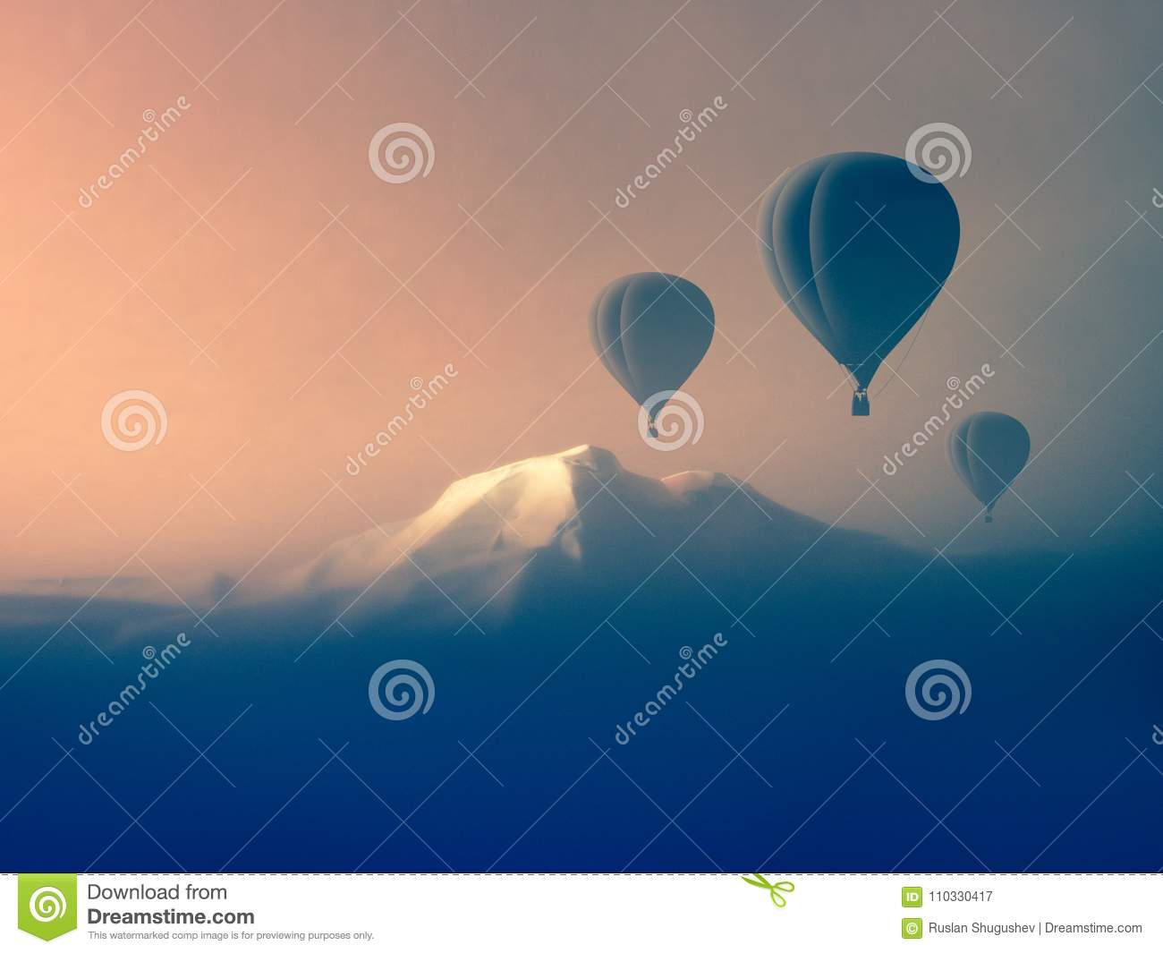 Air balloon flying in the mountains
