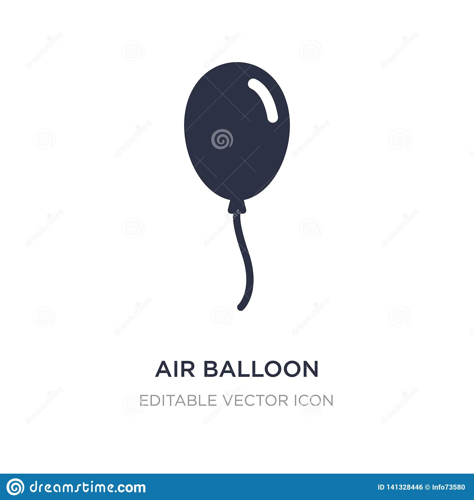air balloon icon on white background. Simple element illustration from Birthday and party concept