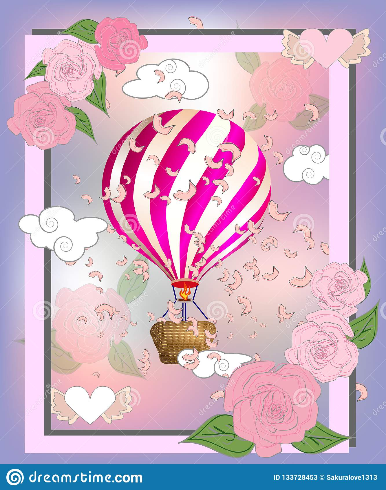 Air balloon with roses in the basket and ribbon with signature I really love you Valentines day illustration