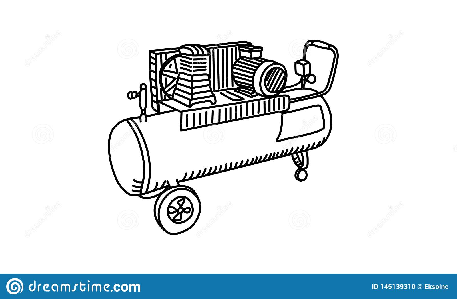 Air Compressor Drawing Line Vector Stock Illustration