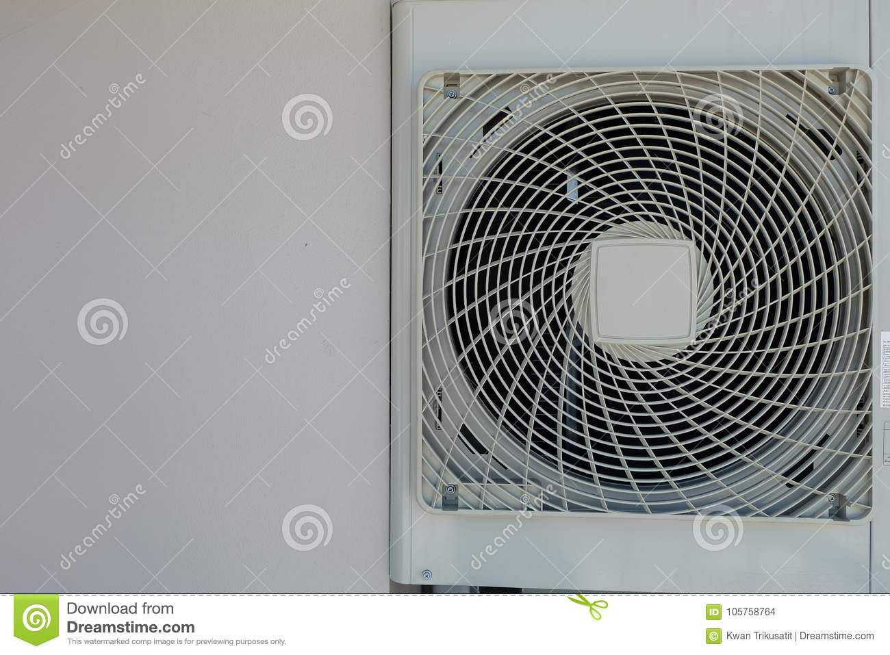 Air Compressors White Stuck To The Wall Stock Photo - Image