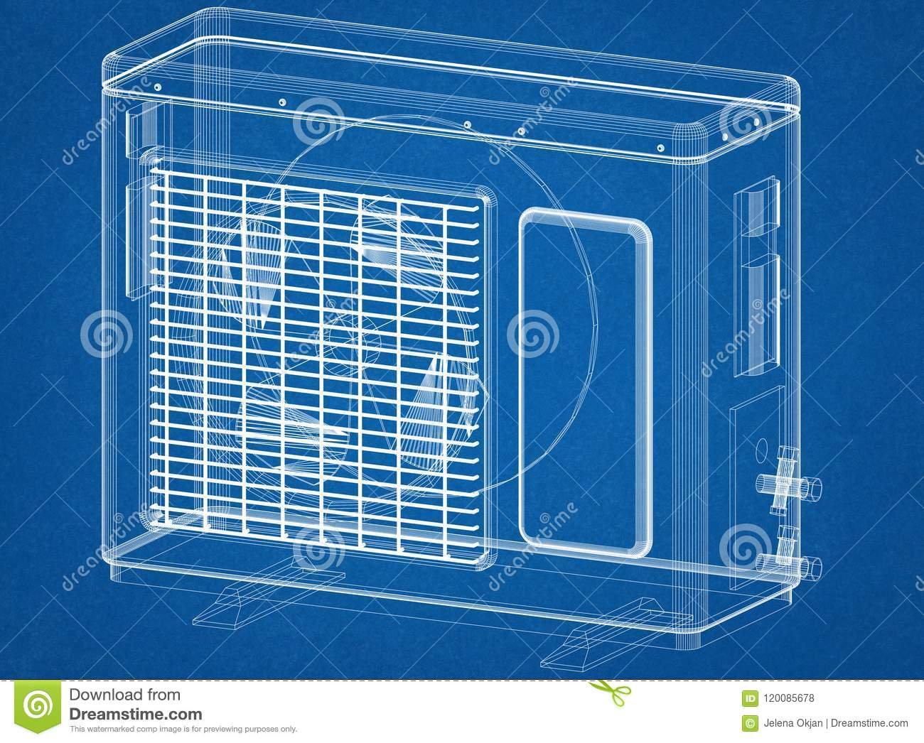 Air Conditioner Blueprint Tempstar Ac Unit Wiring Diagram Free Download Architect Stock Illustration 1300x1046 Image