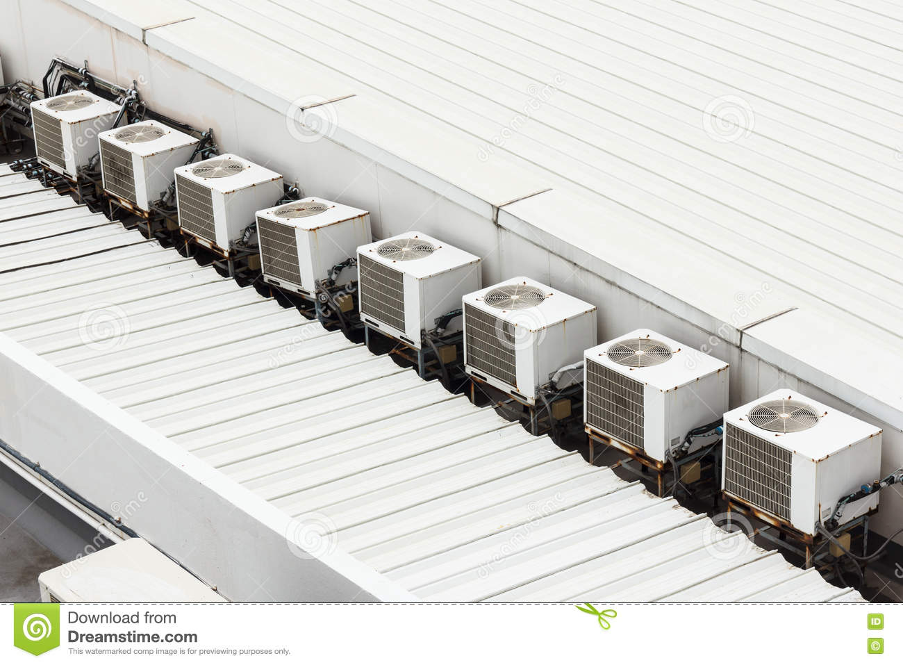 Air Conditioner Compressor On Rooftop Stock Image Image