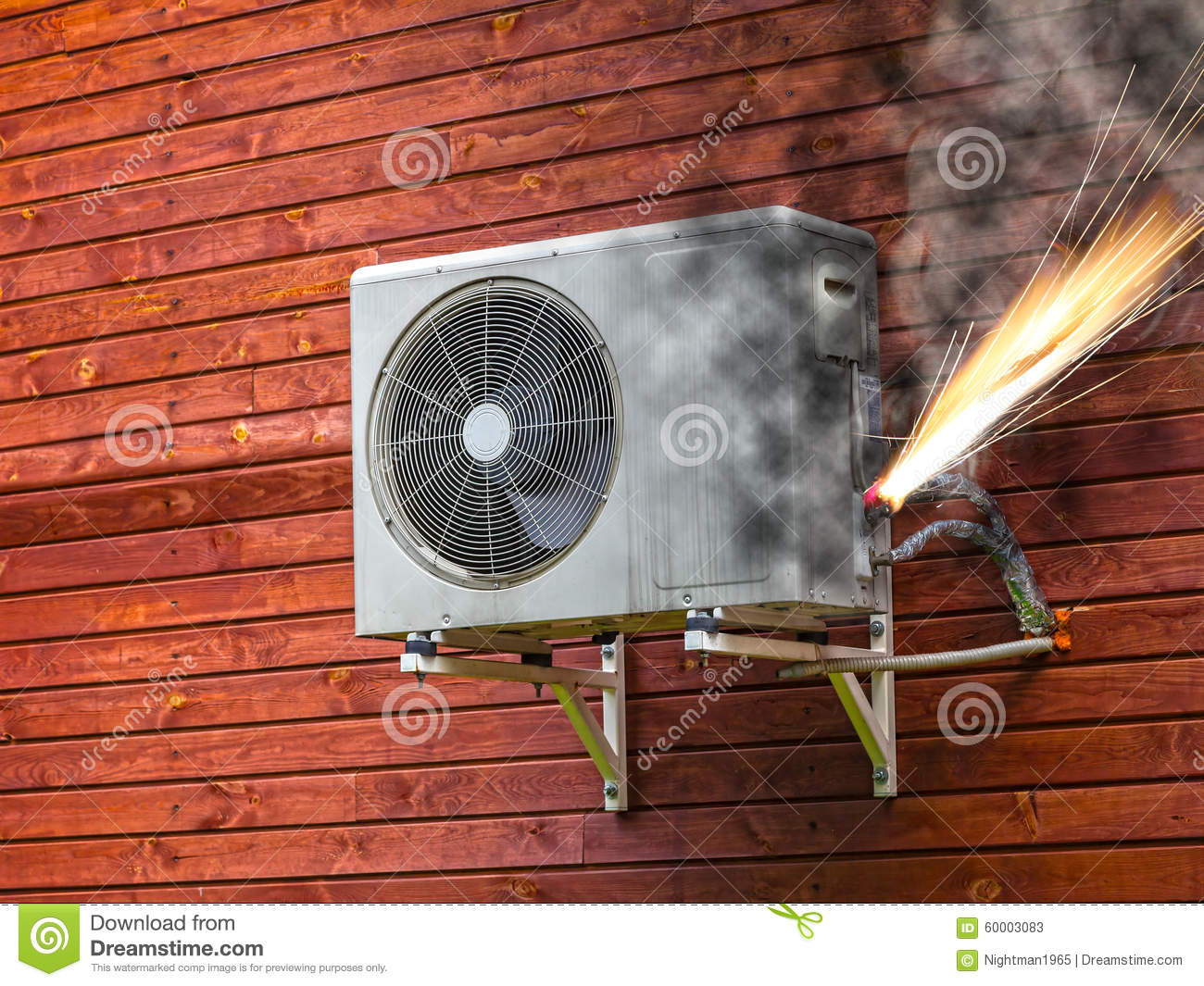 Air Conditioner On Fire Stock Photo Image 60003083