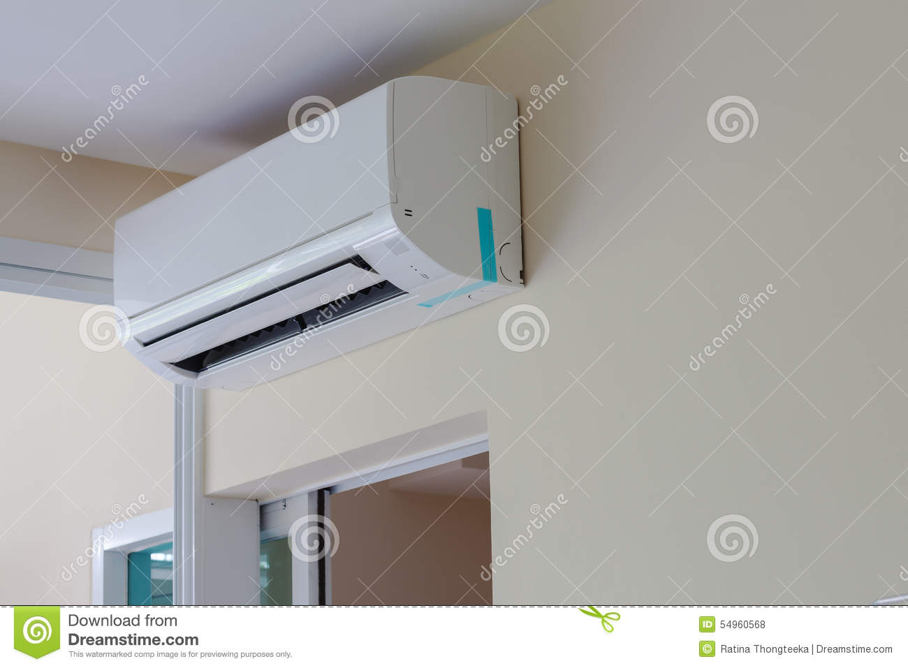 Air Conditioner Install On Wall For Condo Or Meeting Room Stock Photo  #634D41