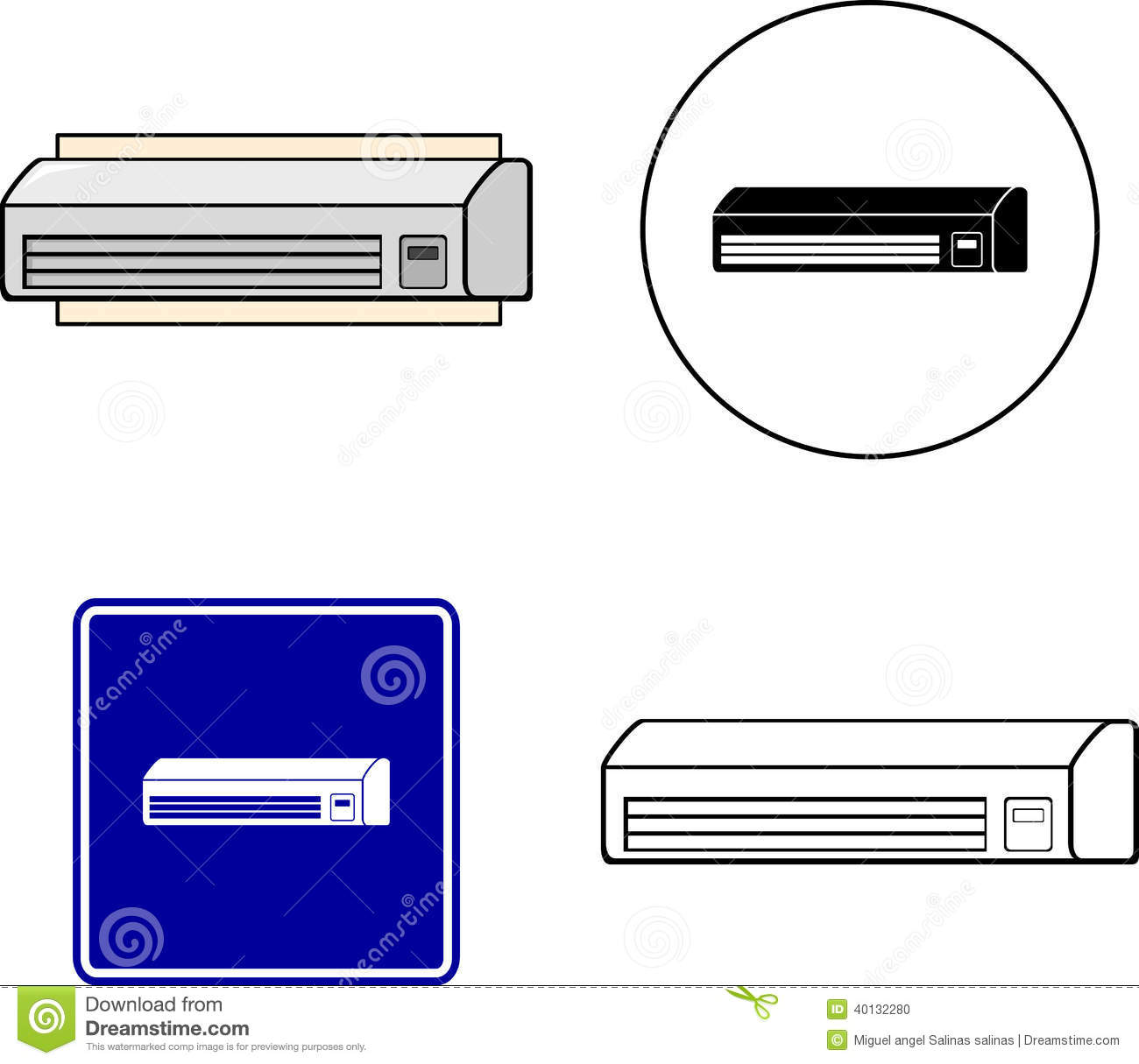 and white illustrations of an air conditioner mini split apparatus #020299