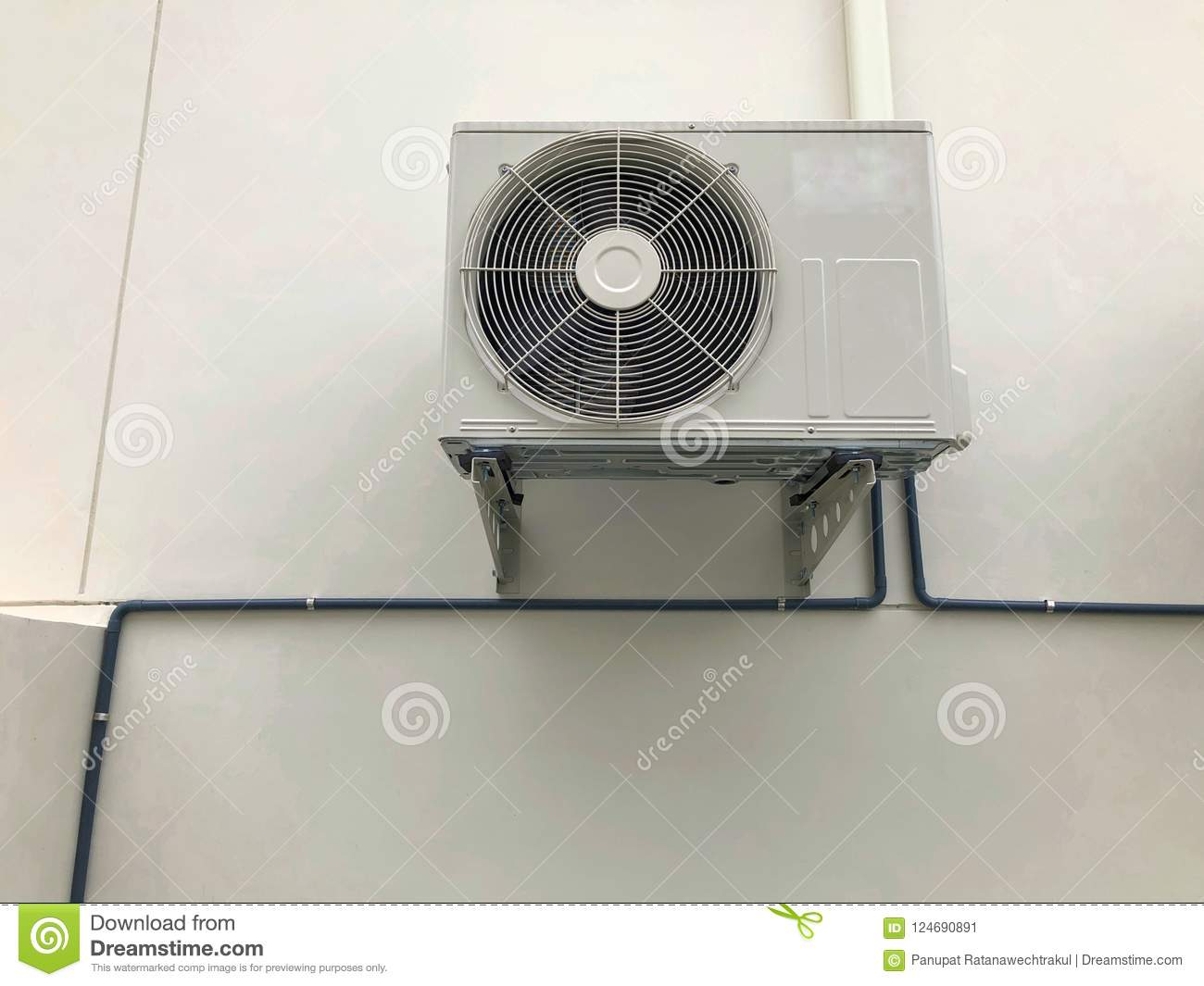 Air conditioner outdoor unit or heat Pump Compressor or Condenser Fan for support Air Conditioner in home .