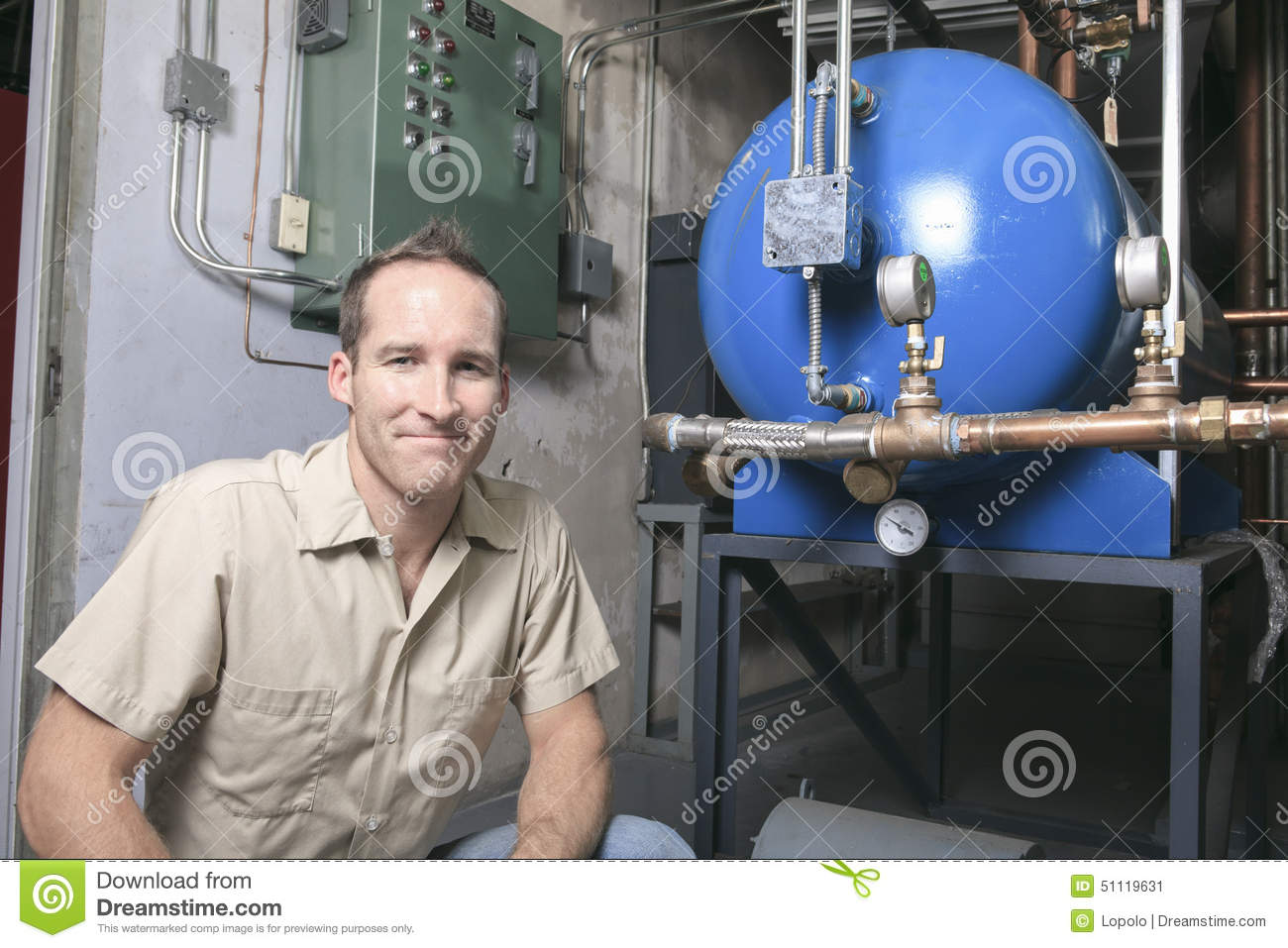Air Conditioner Repair Man At Work Stock Photo Image