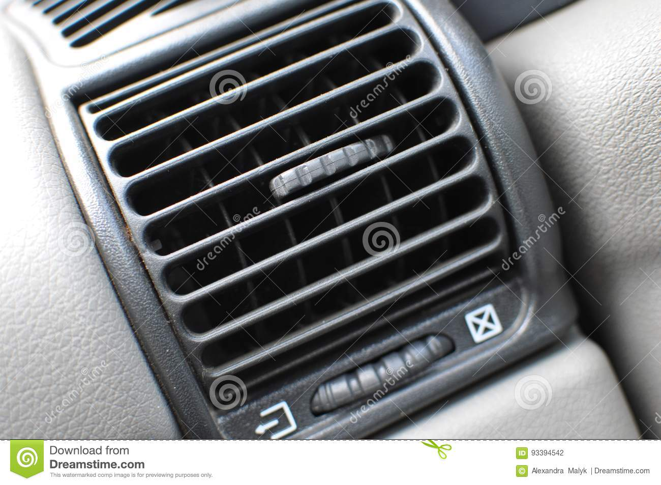Air Conditioner Vent Grill In A Modern Car Stock Photo
