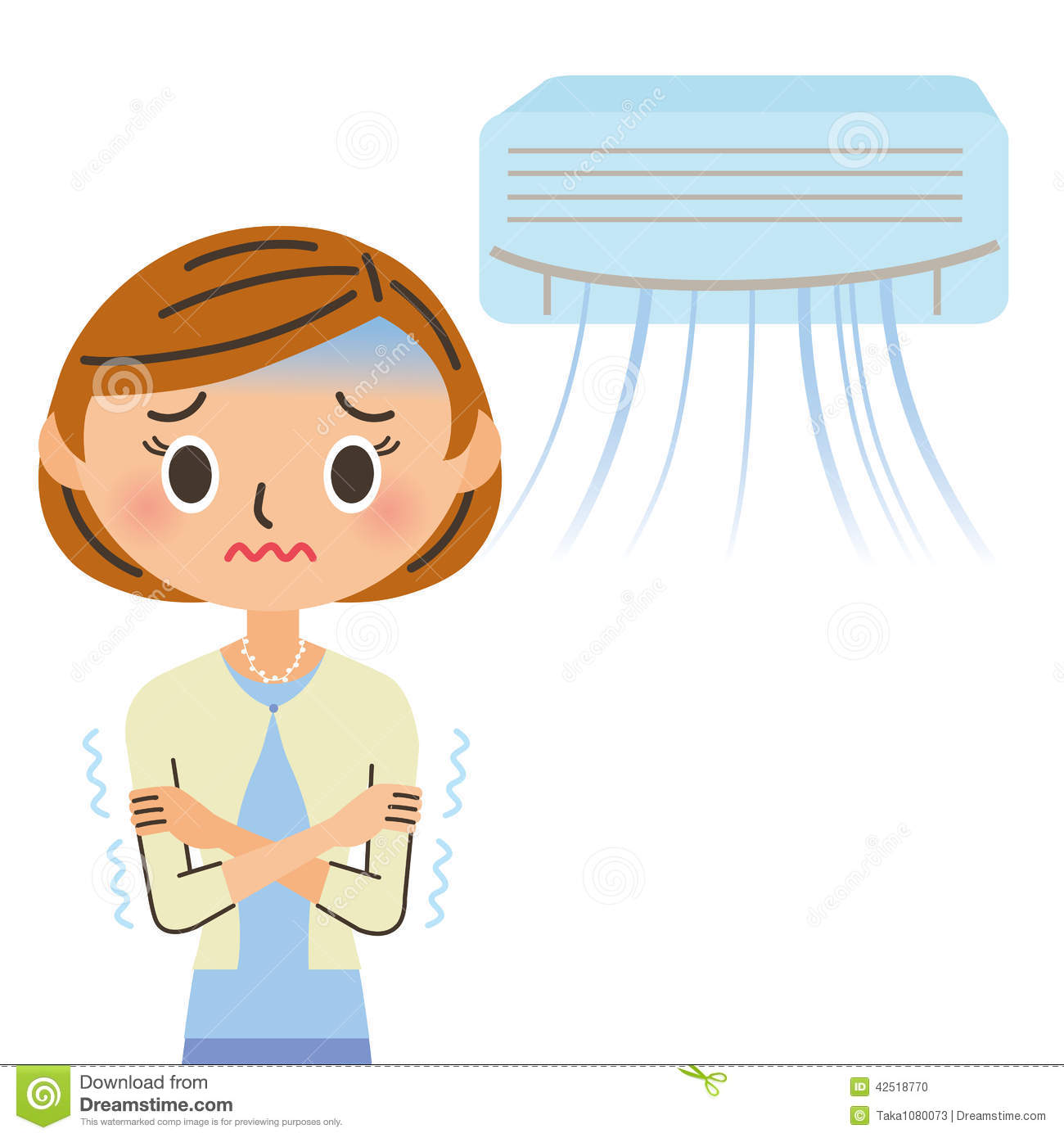 An air conditioner and woman poor circulation stock vector for Air circulation in a room