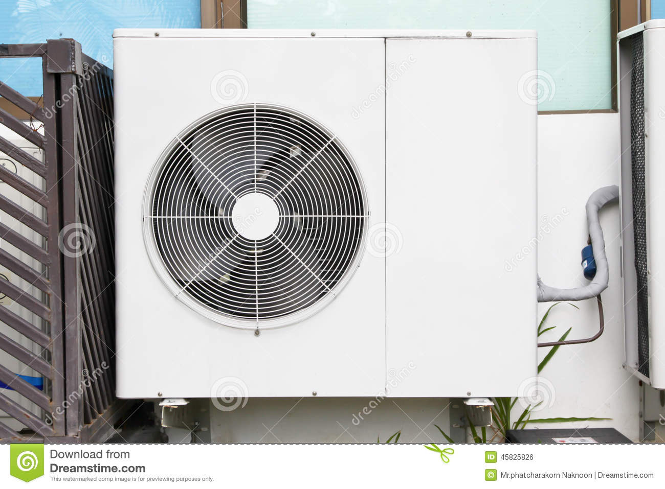 Construction Air Conditioner : Air conditioners installation outside of building near