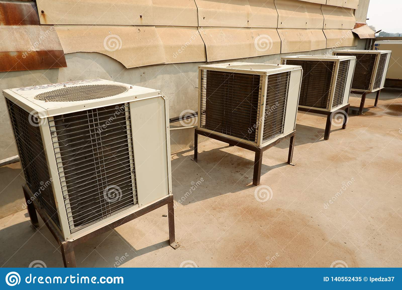 Air conditioning compressor Old white and dirty air conditioning units