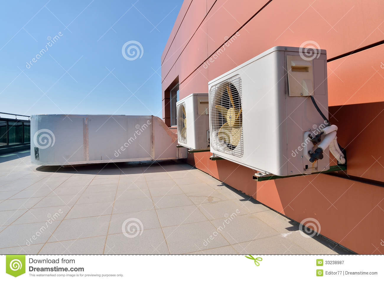 Big Vent Fans : Air conditioning devices with big fans stock image