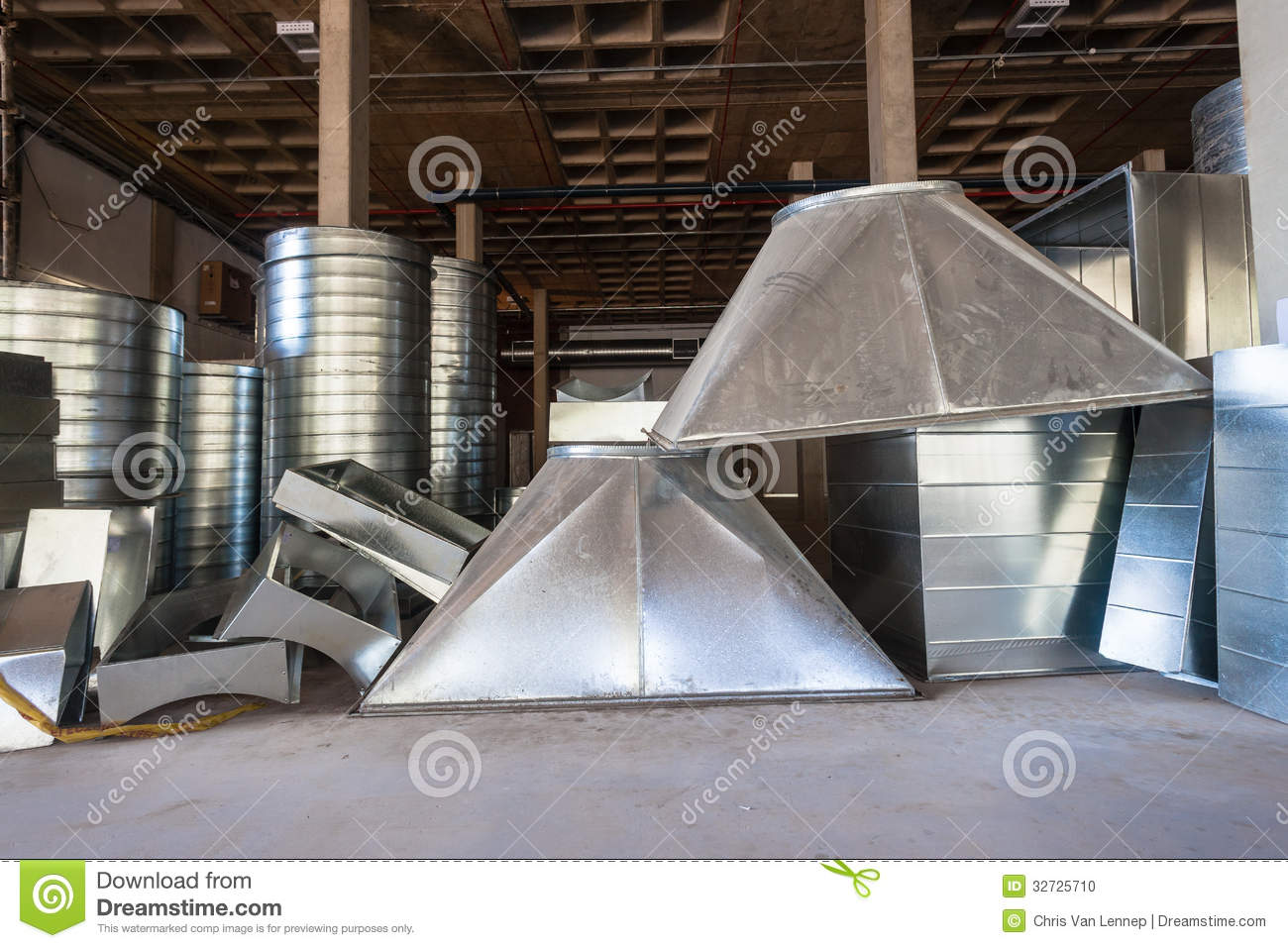 Construction Sheet Metal : Air conditioning ducting construction stock photo image