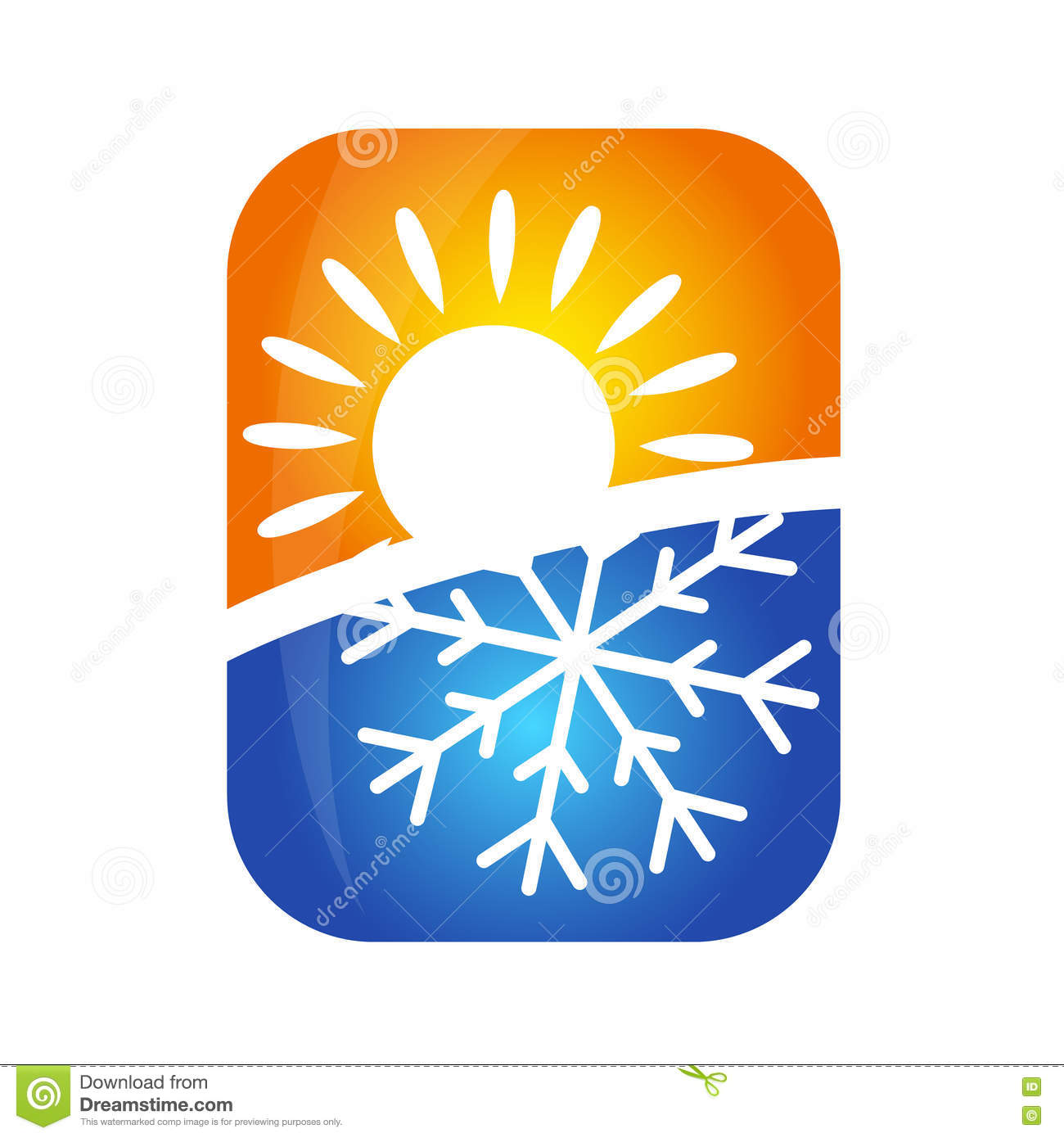 Sun And Snowflake Symbol Air Conditioning Vector