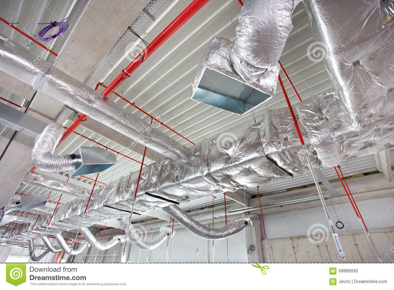 Air Conditioning And Fire Fighting System On The Ceiling