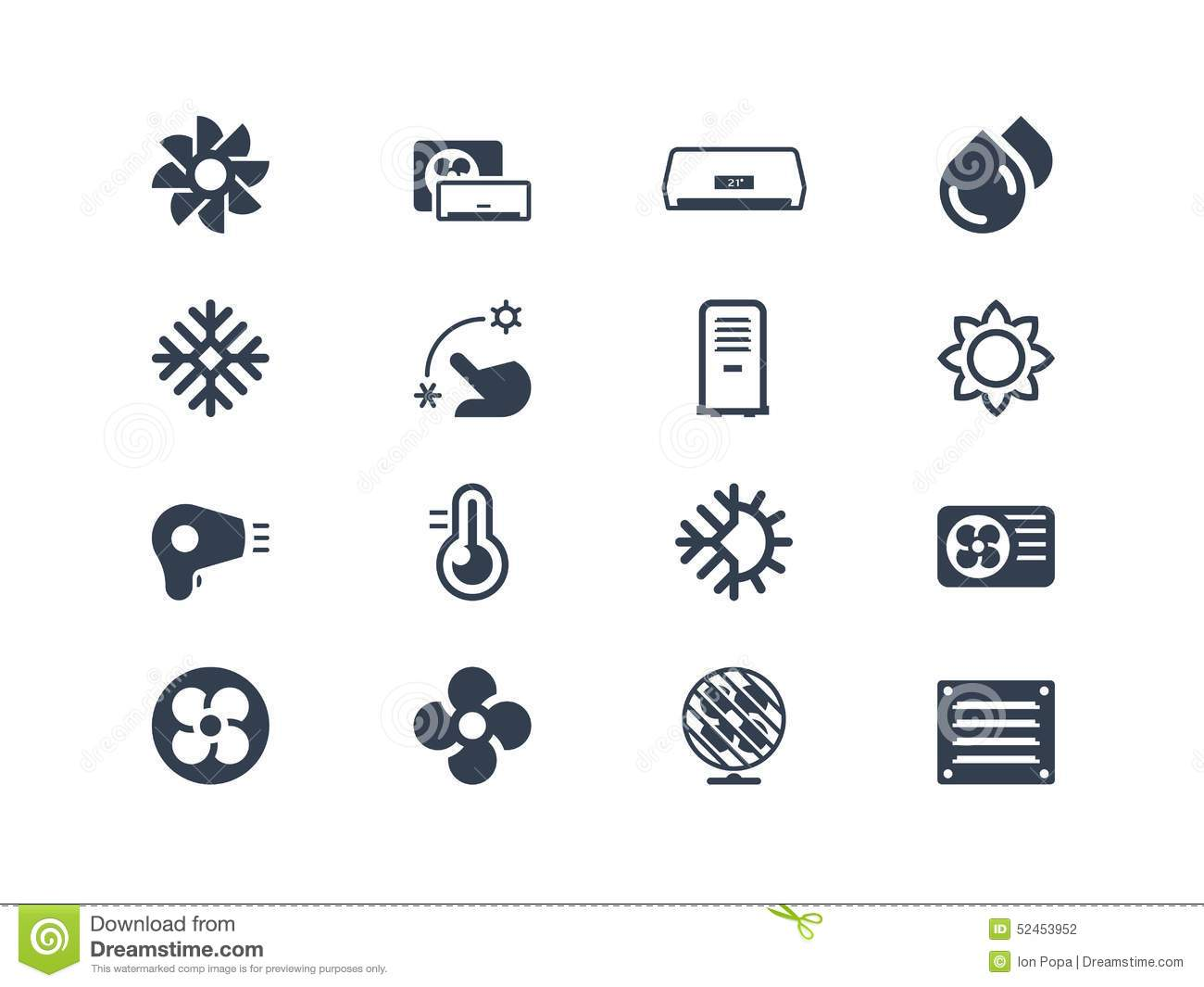 Air Conditioning Icons Stock Vector Illustration Of
