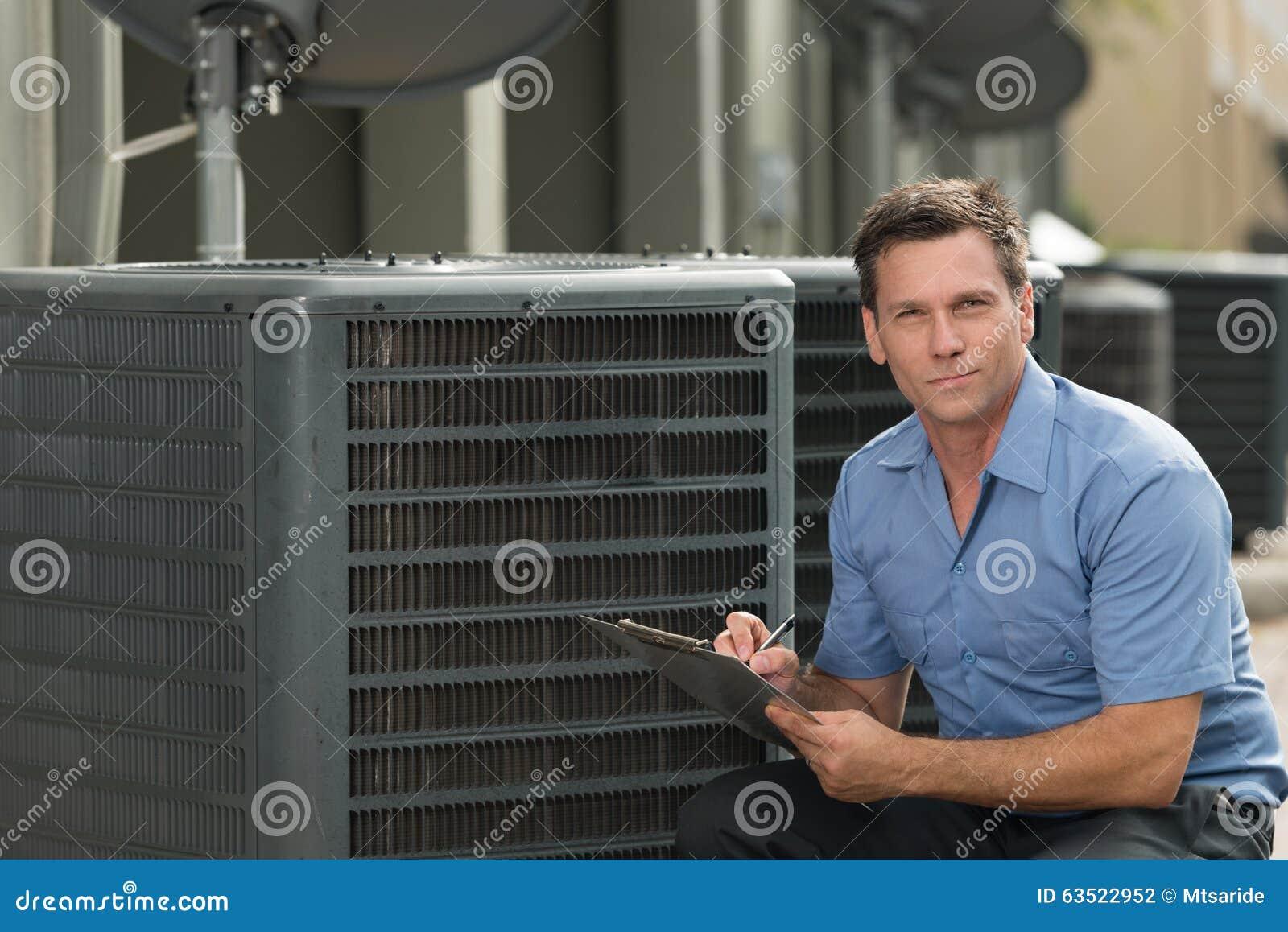 Air Conditioning Repairman Stock Photo Image Of Caucasian