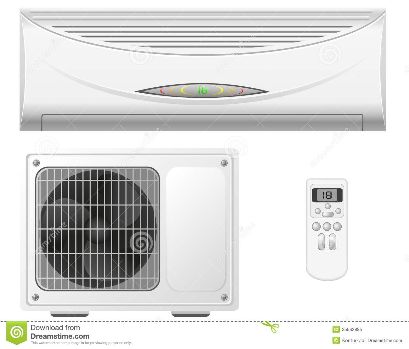 Air Conditioning Split System Illustration Royalty Free Stock Photo  #93A724