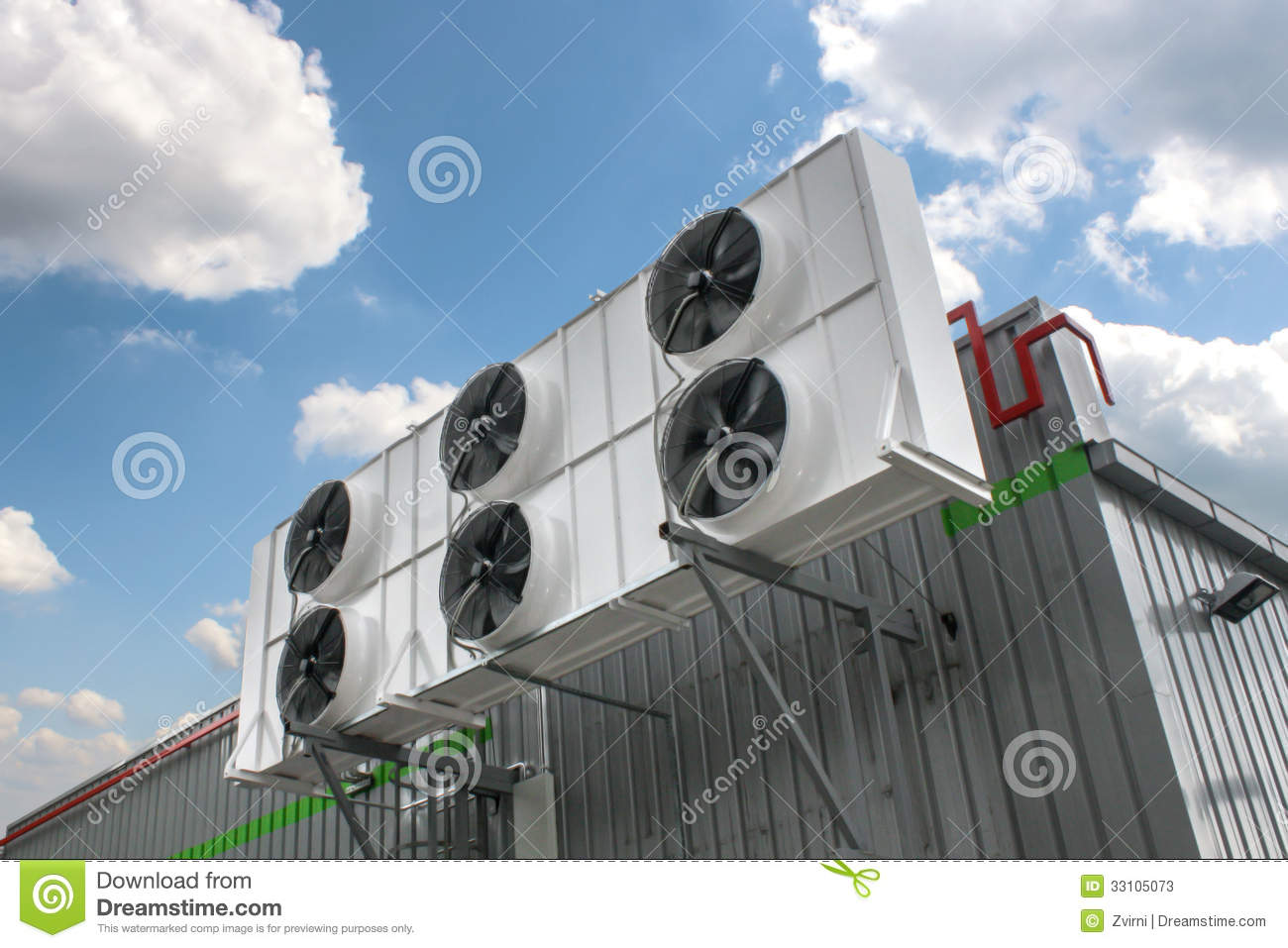Air conditioning system assembled on side of a building. #6D312F