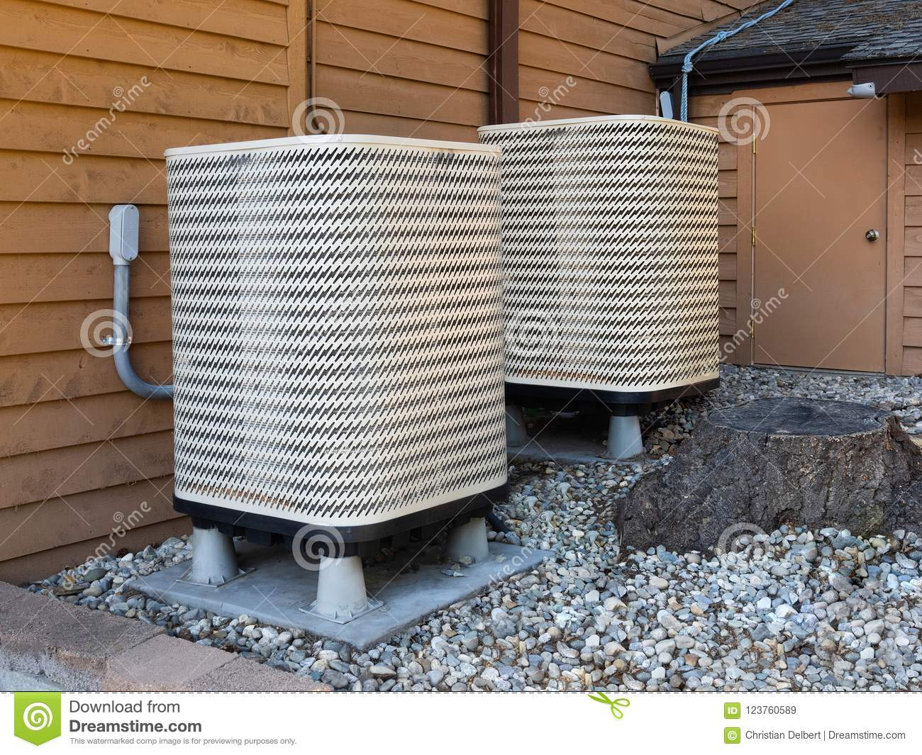 Air Conditioning Unit Outside Apartment House Stock Image ...