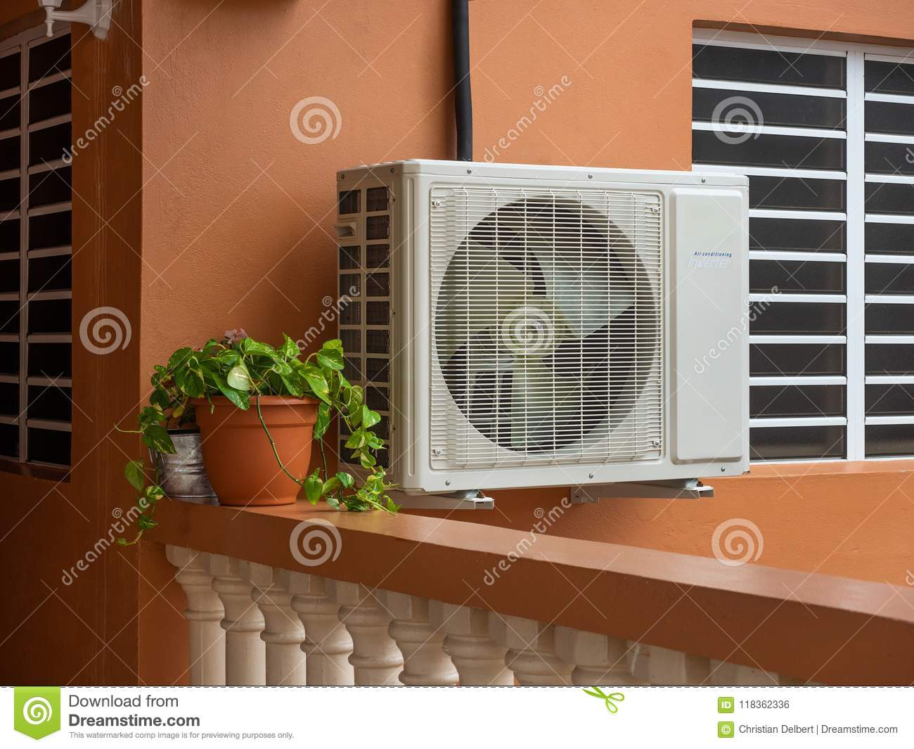 ac heater unit air conditioning unit outside residential house conditioning unit outside residential house stock photo
