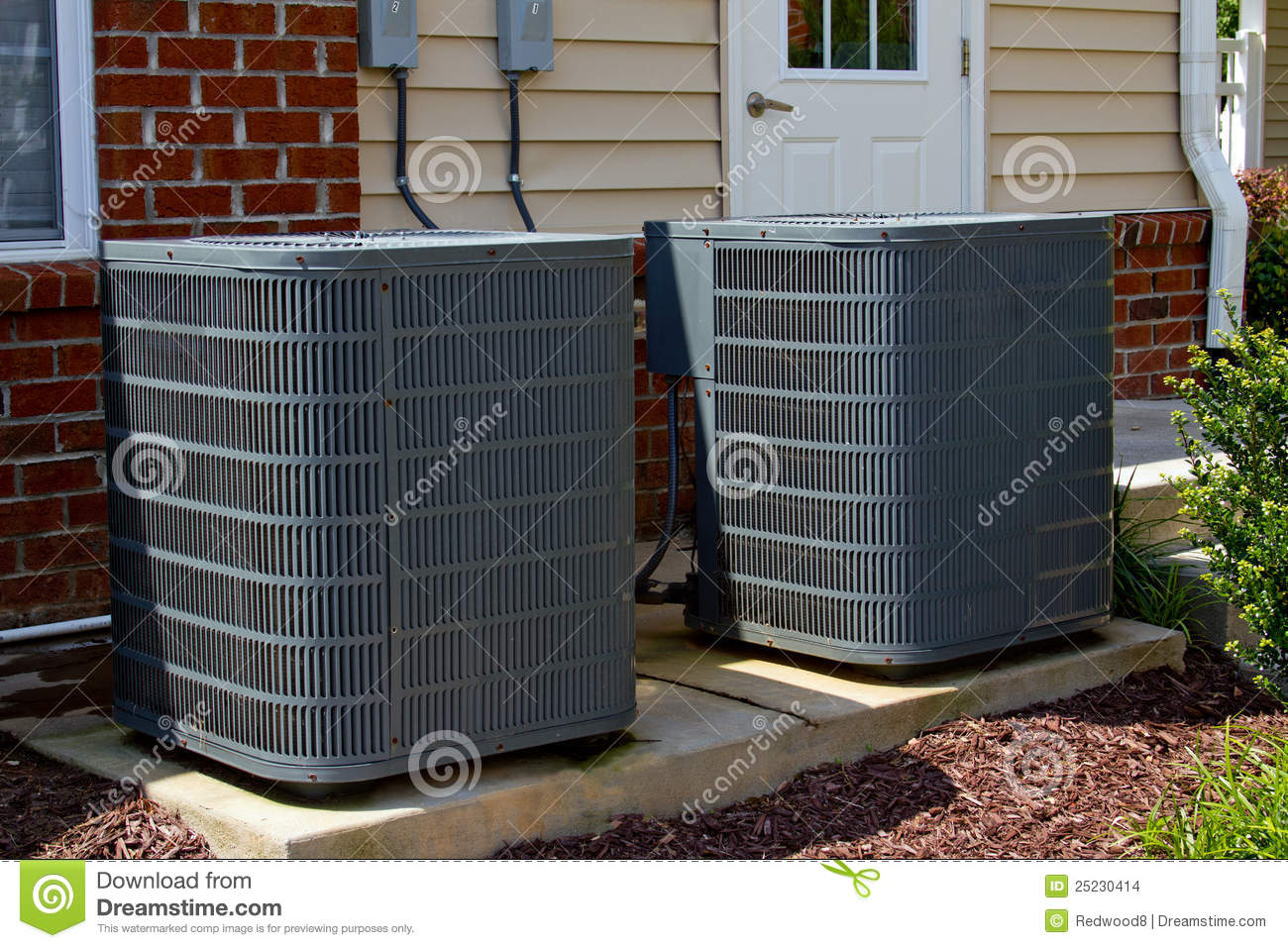 Air conditioning units stock images image 25230414 for Air conditioner pad concrete