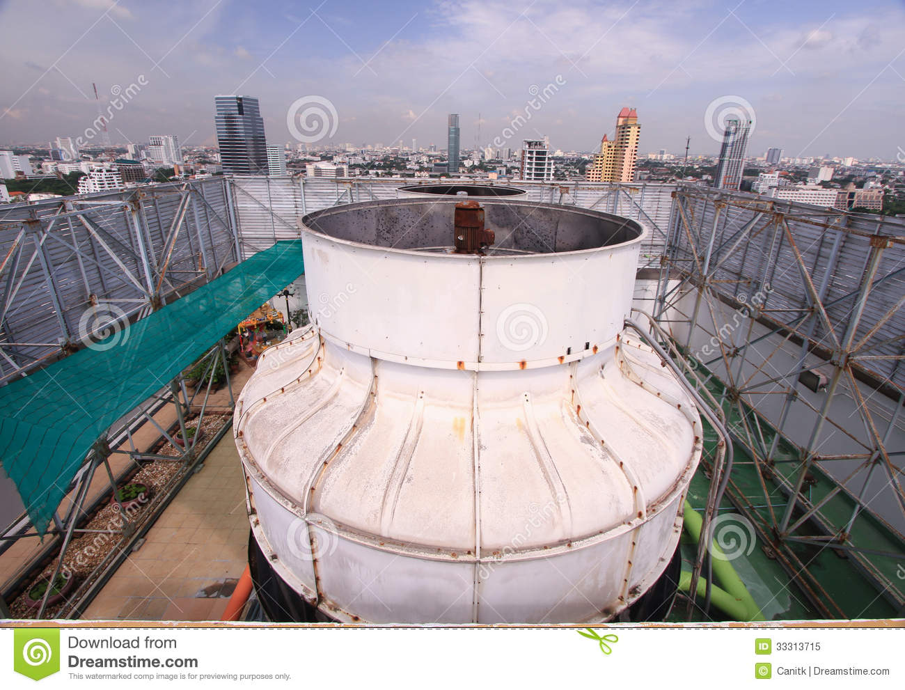 Air Coolant On Roof Of Tower Stock Image Industrial