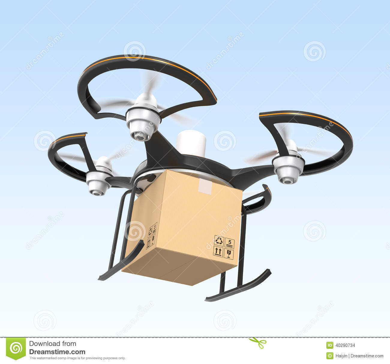 Air Drone With Carton Package Flying In The Sky