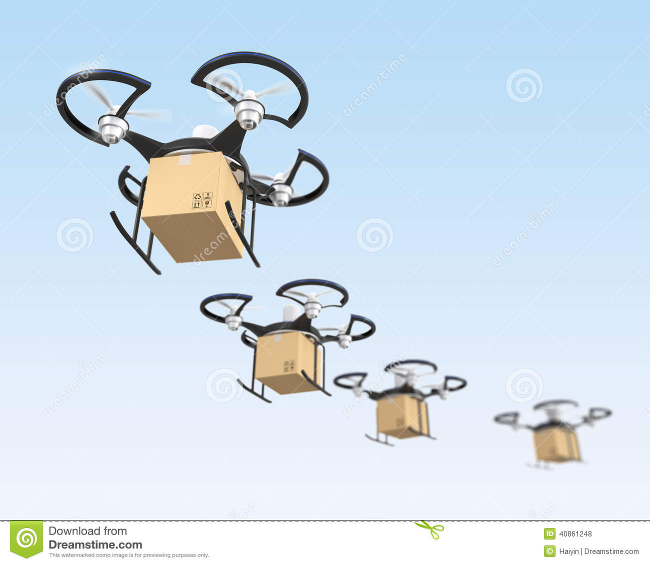 Air Drones With Carton Package In The Sky Stock
