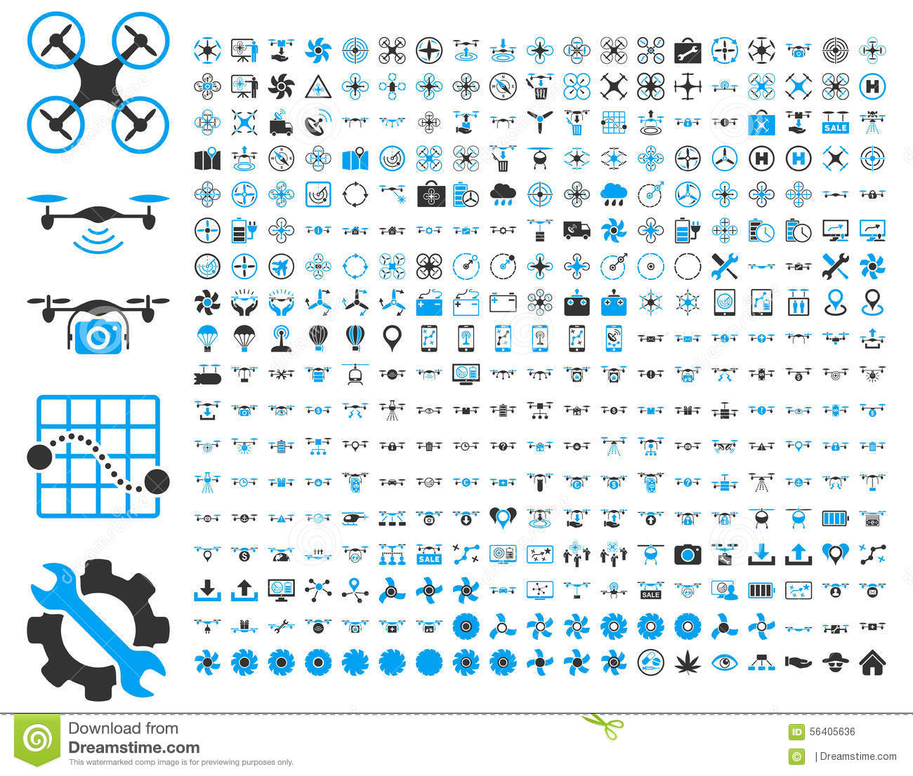Air Drones And Quadcopter Tools Icons Stock Vector Image