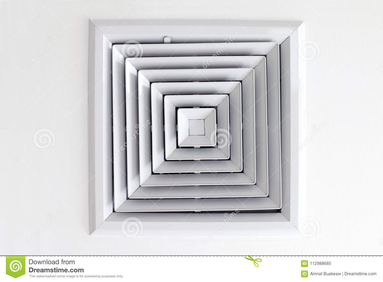 Air Duct Ceiling white, Air duct in square shape, condition vent modern air conditioner or air vent on ceiling white, Duct for con