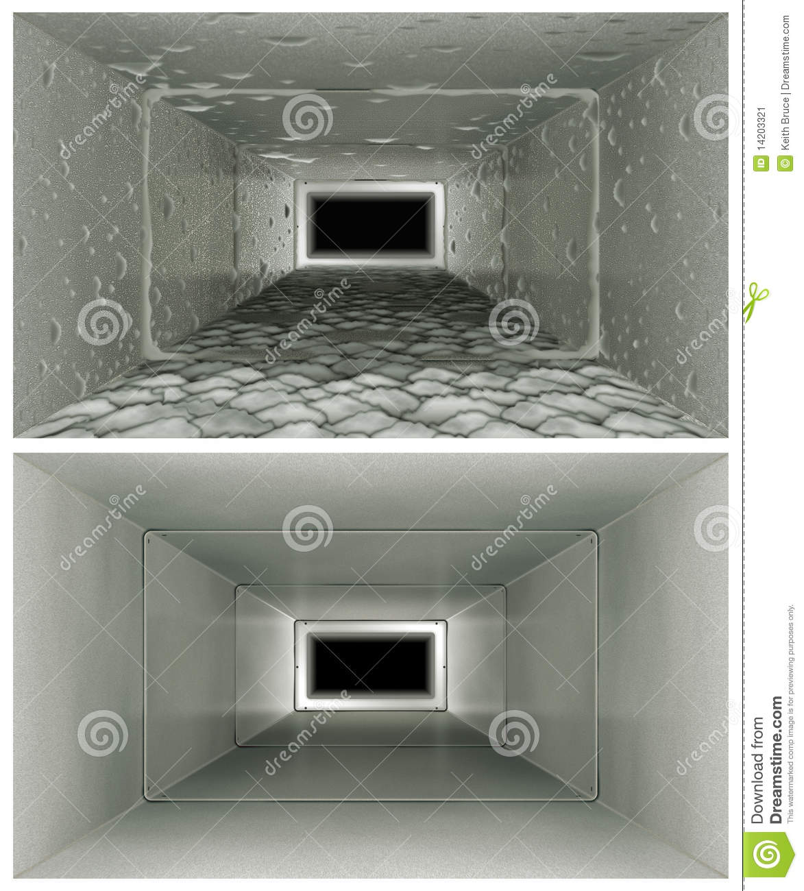Air Duct Cleaning Before Amp After Stock Image Image 14203321