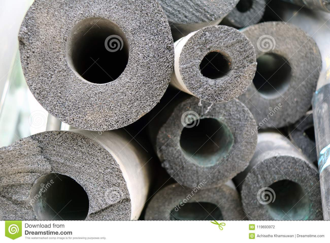Air duct foam, grey color of Long round rods, As material use for heat Insulation.