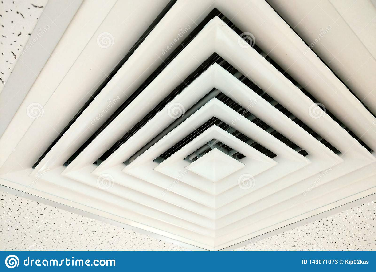 Air duct in square shape, Duct for conditioning heating on a building ceiling