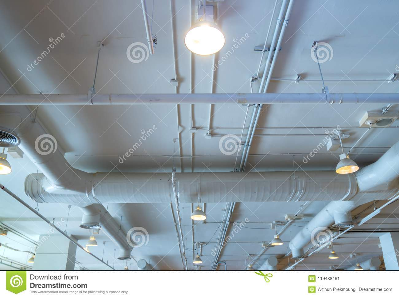 Air Duct Wiring And Plumbing In The Mall Conditioner Pipe A Building System Interior Concept