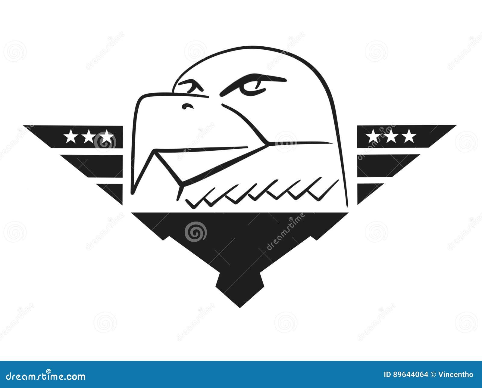Air Force Eagle Head Logo Design Illustration Stock Photo