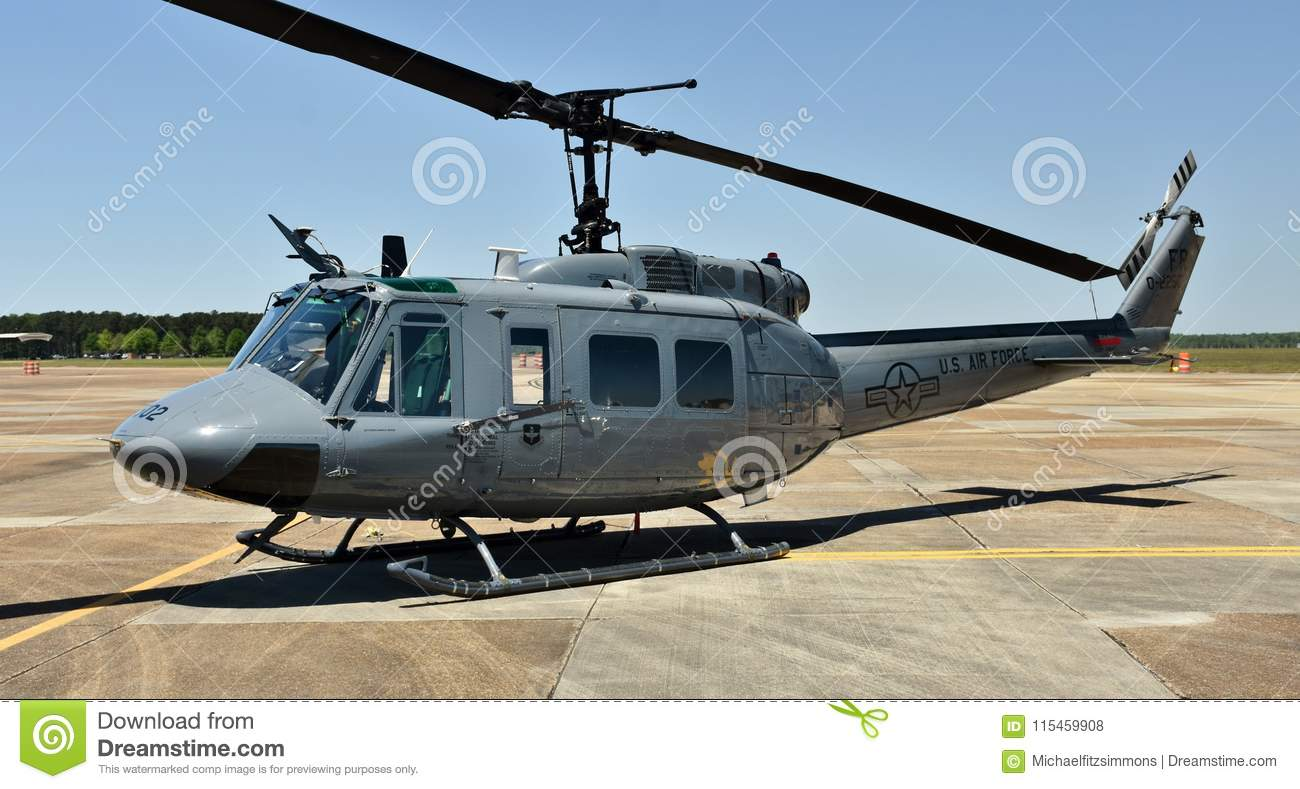 Air Force UH-1N Huey Helicopter Editorial Stock Photo