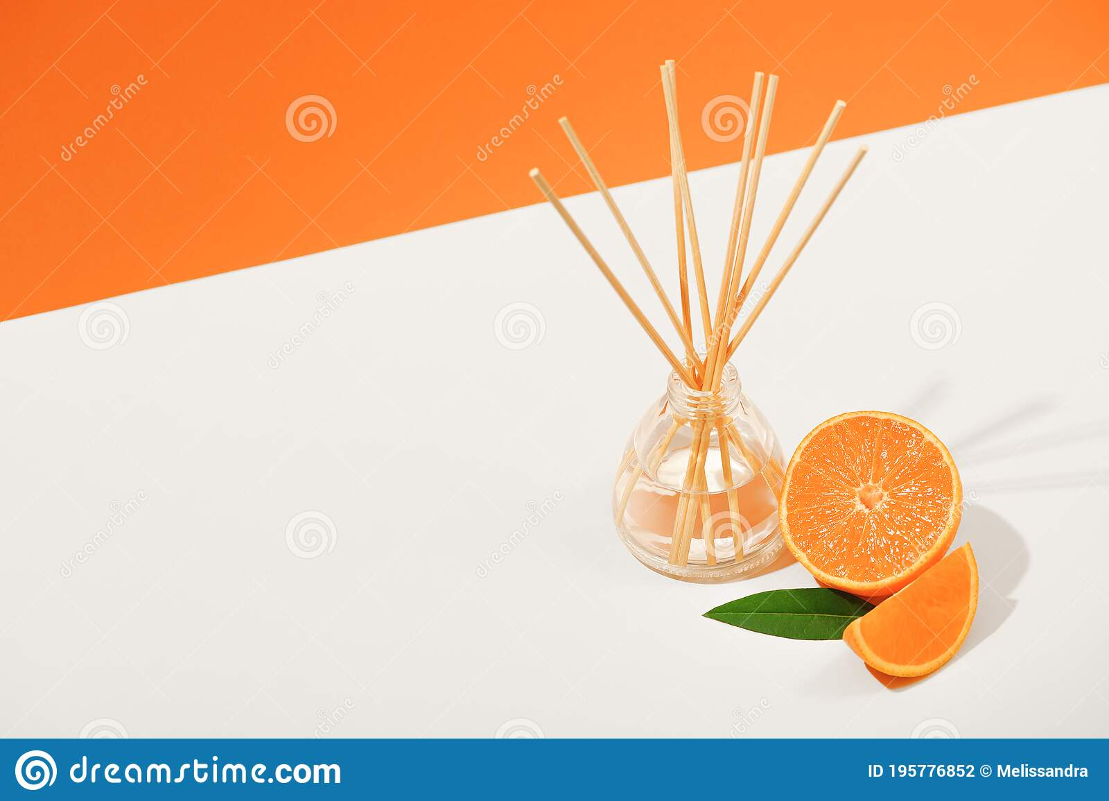 Air Freshener With Reed Sticks On A White Plate With Orange Tangerine Room Aromatization With A Diffuser With A Natural Scent Stock Photo Image Of Bottle Isolated 195776852