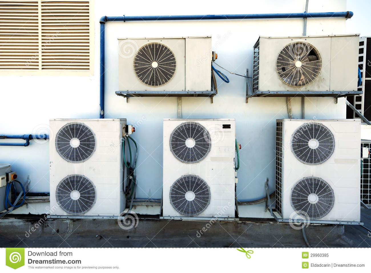 Rooftop Air Handling Units Stock Image Image Of Wall
