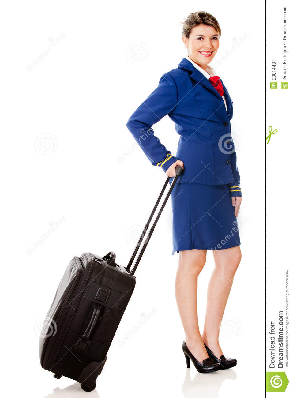 Air hostess with a bag - isolated over a white background.